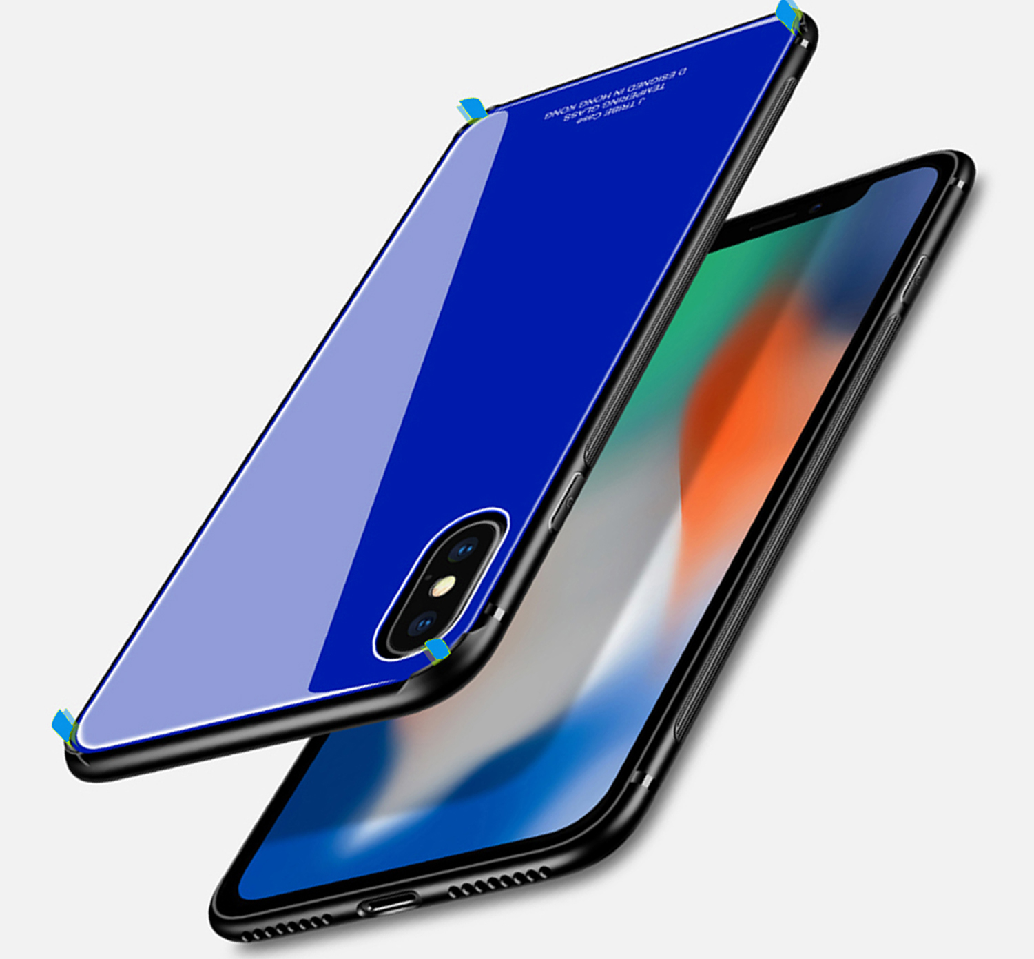 iPhone X Case, iPhone X Glass Case, AMBM Tempered Glass Design Tempered Glass Screen Back Case with TPU Bumper Protective Case Cover for iPhone X / iPhone 10 (Dark blue)