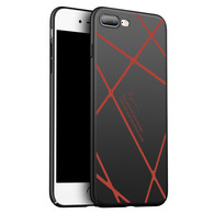 AMBM Thin Fit iPhone 7/8 Plus Case SF Coated Non Slip Matte Surface for Excellent Grip with a free Tempered Glass Screen Protecoter for Apple iPhone 7/8 Plus - Matte Black and Red