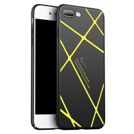 AMBM Thin Fit iPhone 7/8 Plus Case SF Coated Non Slip Matte Surface for Excellent Grip with a free Tempered Glass Screen Protecoter for Apple iPhone 7/8 Plus - Matte Black and Yellow