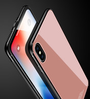 iPhone X Case, iPhone X Glass Case, AMBM Tempered Glass Design Tempered Glass Screen Back Case with TPU Bumper Protective Case Cover for iPhone X / iPhone 10 (Rose gold)