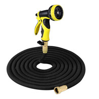Garden Hose - Expanding Extra Strength Stretch Material with Brass Connectors - Bonus 9 Way Spray Nozzle (25FT, Black)