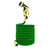 Garden Hose - Expanding Extra Strength Stretch Material with Brass Connectors - Bonus 9 Way Spray Nozzle (100FT, Green)