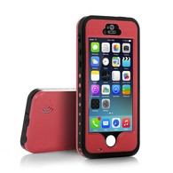 AMBM, iPhone 5s Case, 6.6 ft Underwater Waterproof Shockproof Snowproof Dirtpoof Protection Case Cover with Touch ID for iPhone 5s [Red]